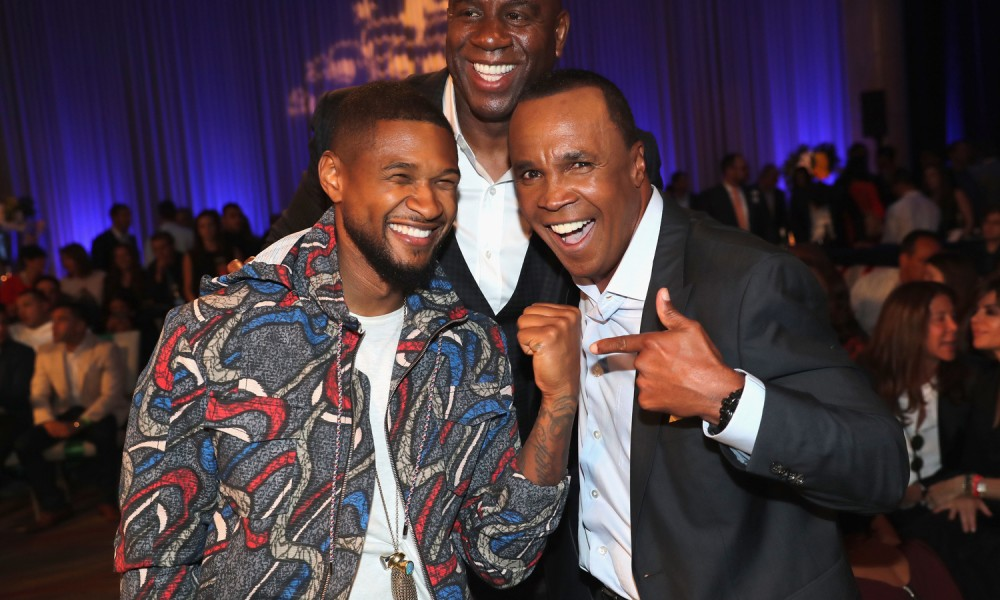 "HOLLYWOOD, CA - MAY 25:  Usher, Magic Johnson and Sugar Ray Leonard attend B. Riley & Co. and Sugar Ray Leonard Foundation's 7th Annual ""Big Fighters, Big Cause"" Charity Boxing Night at Dolby Theatre on May 25, 2016 in Hollywood, California.  (Photo by Mark Davis/Getty Images for Sugar Ray Leonard Foundation ) *** Local Caption *** Sugar Ray Leonard; Usher; Magic Johnson"